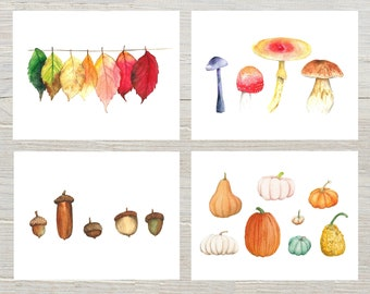 Autumn Watercolor Stationary set of 4 or 8, Fall post card, Colorful leaves mushrooms pumpkins acorns,Folded Blank Note Cards with envelope