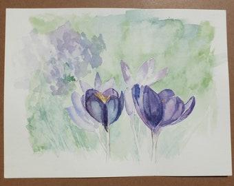 Crocus Flowers, Original Watercolor Painting by Liz Pope