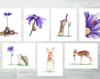 Woodland Animal Postcards set of 7 ,Forest Card Set Postcard Set Cute Animal Card Set with Envelopes Pack of Postcards Watercolor Stationary