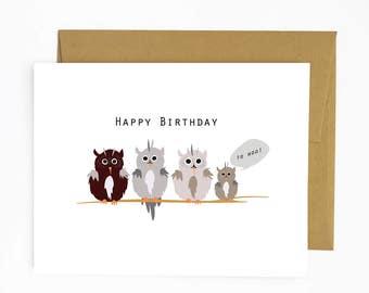 Happy Birthday to Hoo - Greeting Card