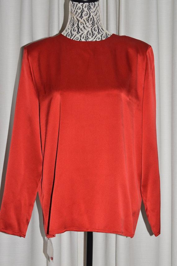 Vintage Silk Red Blouse Long Sleeve by JAEGER Engl