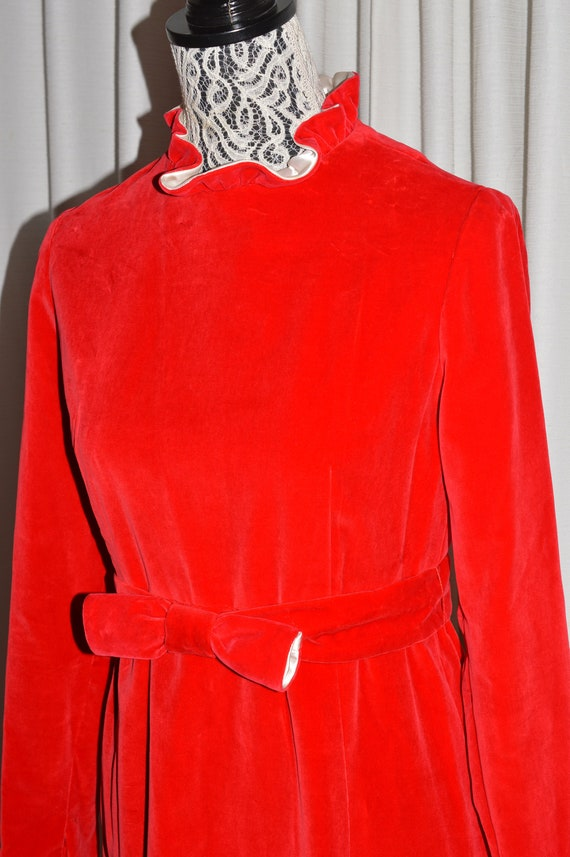 Vintage Red Maxi Dress Long Sleeve Cotton Velvet D