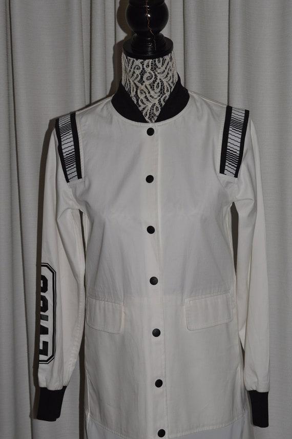 EVISU Elegant Women Coat White & Black EVISU Woman