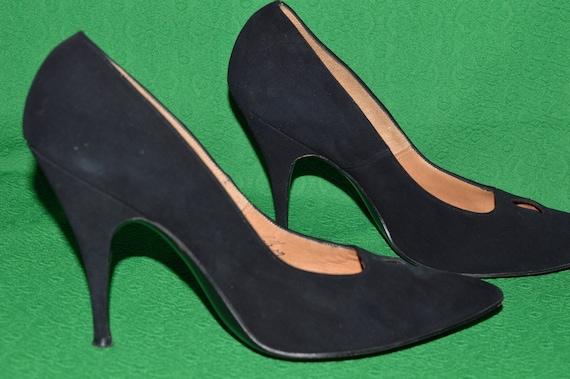 Shoes Black suede ANDREW GELLER 1950s - image 3