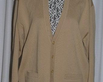 Vintage Pierre Cardin All New Wool Light brown Beige Cardigan 1980s X3DQwbk