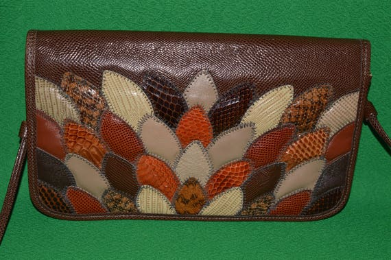 Vintage OLEG CASSINI Snakeskin Patchwork Leather C