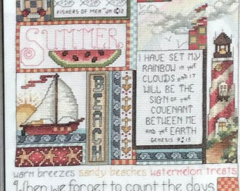 Summer framed cross stitch