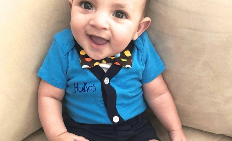 81d1a40be Personalized Baby Boy Cardigan Bow Tie Set Baby Suit Baby | Etsy