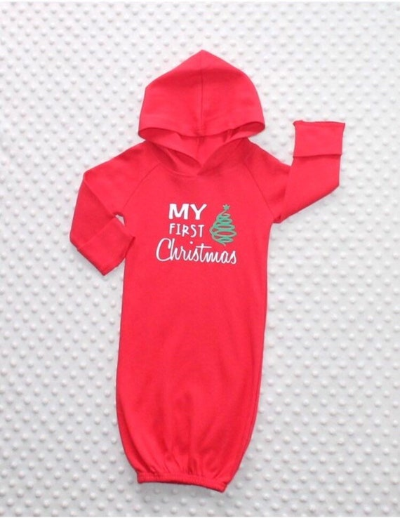 image 0 - Baby Christmas Outfit Printed Baby Gown Newborn Hooded Gown Etsy
