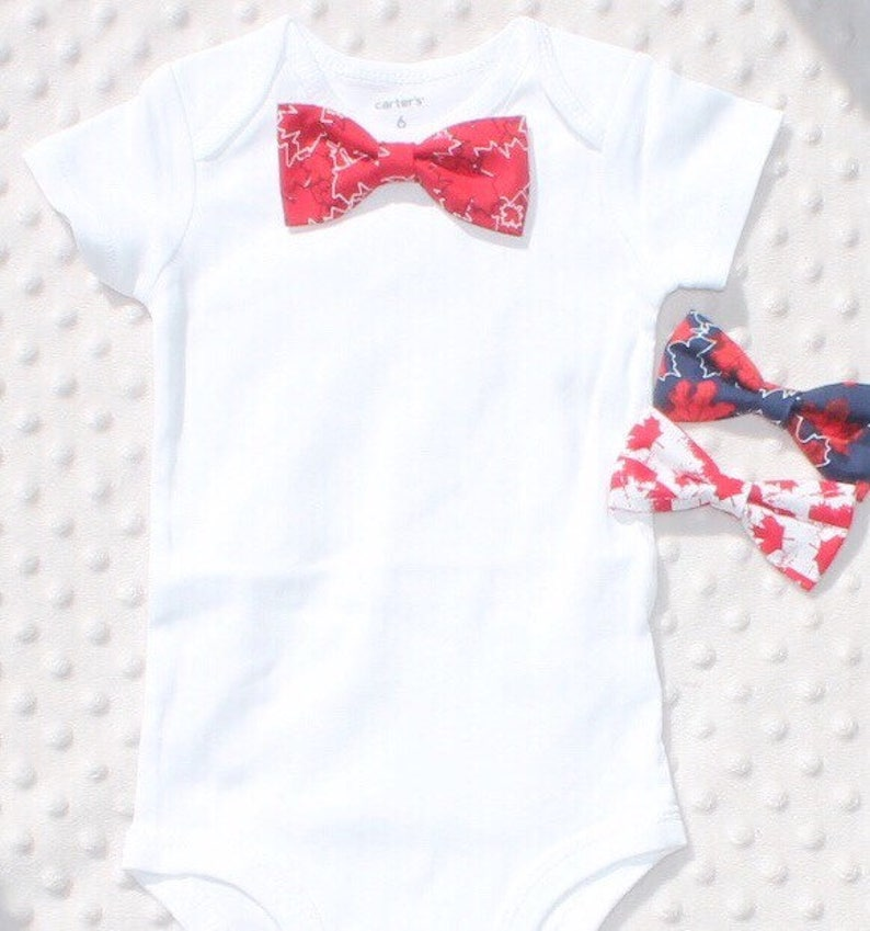 65bb87a9 Baby Boy Bow Tie Outfit Canada Day Bow Tie Maple Leaf Bow | Etsy