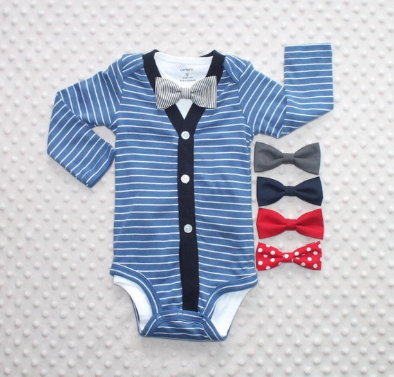 4613da727350 Baby Boy Cardigan and Bow Tie Set Blue and White Stripes