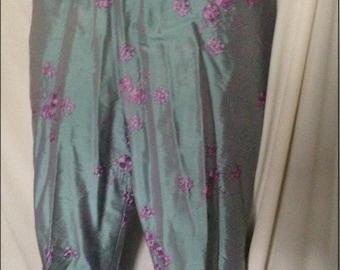 VTG 90's Nanette Lepore blue silk embroidered pants mint size 10