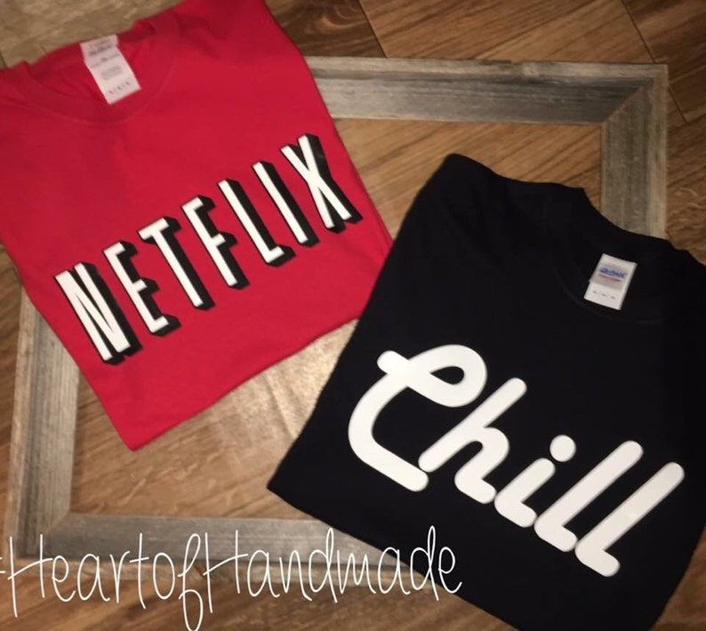 45645334f Netflix and chill costume couple shirts | Etsy