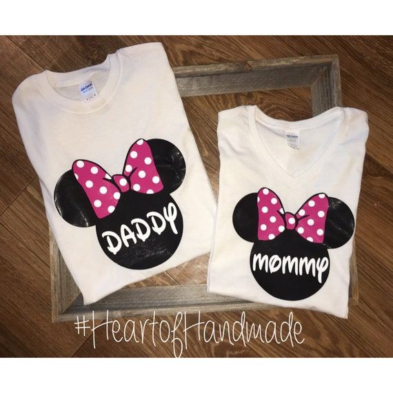 efe2491b Items similar to Minnie Mouse Mom Dad Family Birthday Shirts on Etsy