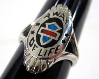 "Vintage ""A Way of Life"" HD Style Silver Tone Biker Ring (Various sizes) 1980's"
