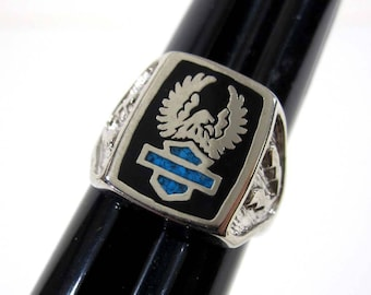 Vintage Eagle Bar & Shield HD Style Silver Tone Biker Ring (Various sizes) 1980's