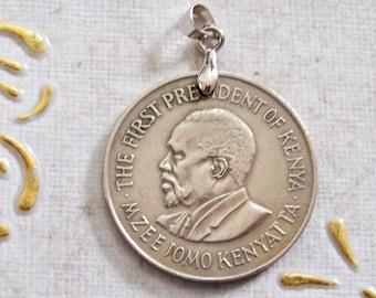 Art Vintage Kenya Coin Pendant made from Genuine 1969s 1 shilling Coin.mm28.51th Anniversary,51th Birthday Coat of Arm.Jomo Kenyatta 516