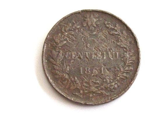Jahrgang Italien 1861 5 Cent Münze Königreich Von Italien Etsy