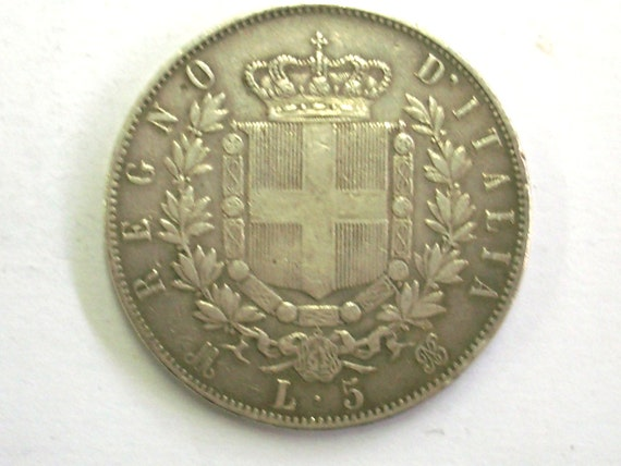 Antike Vintage Italien 5 Lire 1874 Silber Münze Königreich Etsy
