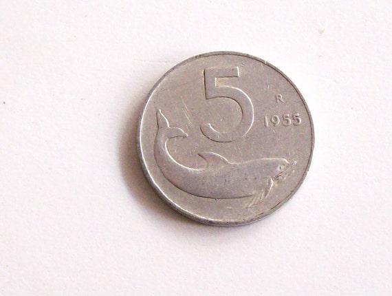 Jahrgang Italien 1955 Lire 5 Aluminium Münze Italienische Etsy