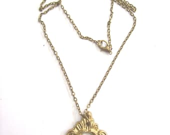 Antique Key Hole Necklace Pendant.brass gold . Door of happiness. Door of love- Nozzle for the lock. Art.8151. Gift, Anniversary, Birthday.