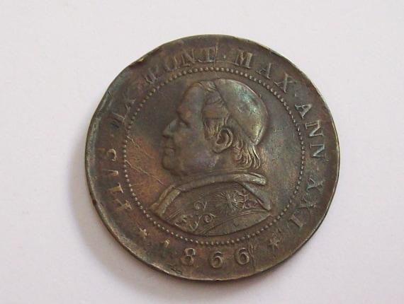 Jahrgang Italien Päpstlichen Staaten 2 Soldi 1866 Coin10 Etsy