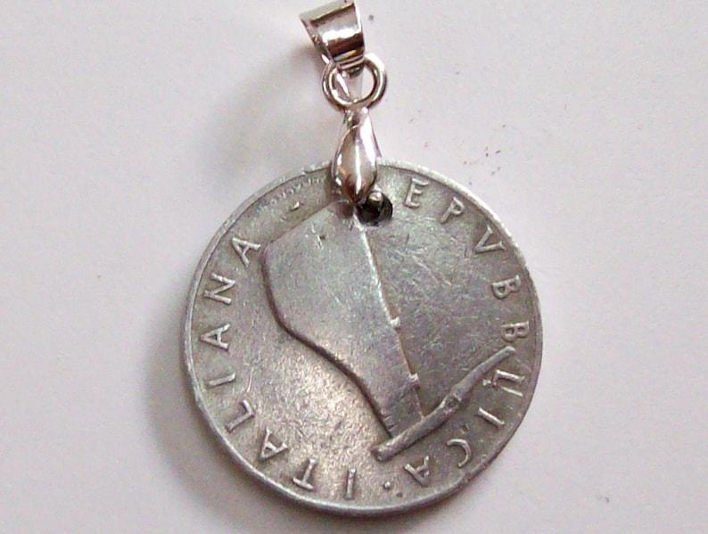 0686-89 68th Birthday Vintage Coin Pendant Italy 1951 lire 5 rudder Italian Republic 5 Lire Dolphin art 68th Anniversary