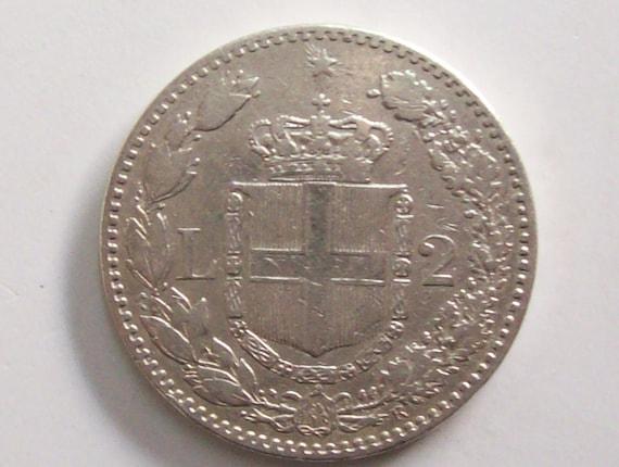 Jahrgang Italien 1887 2 Lire Münze Silber Mantel Der Krone Etsy