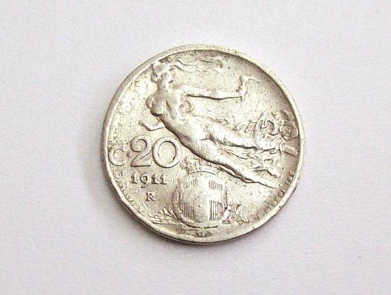 Vintage Antik 1911 Italien 20 Cent Münze Königreich Von Etsy