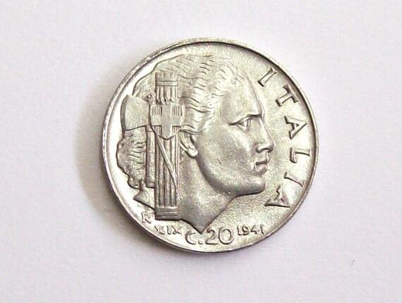 Vintage Antik 1941 Italien 20 Cent Münze Königreich Von Etsy