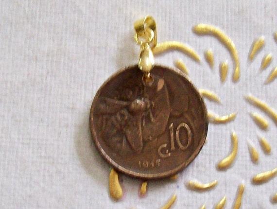 Vintage Italien Münze Anhänger Gemacht Aus Echte 1935 10 Cent Etsy