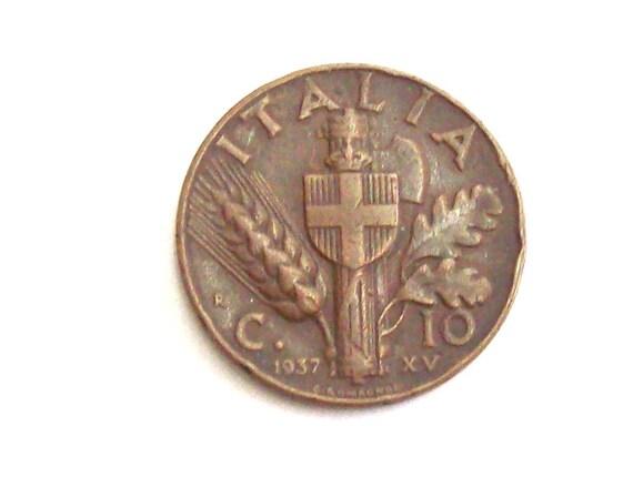 Jahrgang Italien 1937 Cent 10 Kupfer Münze Königreich Von Etsy