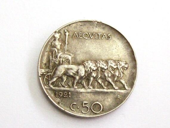Vintage Antik 1921 Italien 50 Cent Münze Königreich Von Etsy