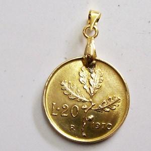 1977 Amulet Pendant with 20 lire coin oak Italian Republic