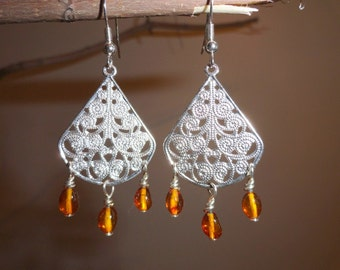Scandinavian-style Traditional Filigree with Amber Nuggets - #40