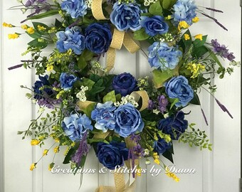 Floral Grapevine Wreath, front door wreath, home decor wreath, Spring wreath, Blue hydrangea / Roses,ribbon, wall decor, Mother's Day