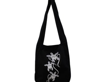 Black Canvas Sling Bag with White Tribal Sea Turtle Design