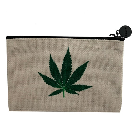 Colorful Marijuana Leaves Pattern Canvas Coin Purse Small Cute Wallet Bag With Zip