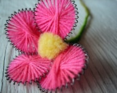 One Rare 1800s Victorian Handmade Metal and Yarn Flower - Exquisite Detail (Ref A-4832 2 23 Box 5)