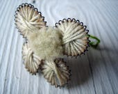 One Rare 1800s Victorian Handmade Metal and Yarn Flower - Exquisite Detail (Ref A-4832 2 28 Box 5)