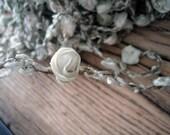 18 inches Rare Circa 1910s Antique Silk Ribbonwork and Floss Along a Metallic Mesh (Ref A-3923 Box 4)