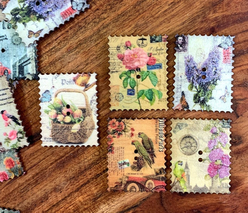 embellishments vintage style embellishments mini inspiration craft supplies junk journal supplies Wooden postage stamp stule buttons