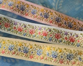 Silk Floral Ribbon 7 8 quot wide, pretty colors, white, pink and ivory all Embroidered with Roses large and small. Vintage.