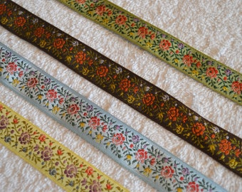 """Silk Floral  Ribbon 3/4"""" wide, Splendid colors, brown, olive green, and yellow  Embroidered Jacquard Ribbon, Roses and tiny Purple buds."""