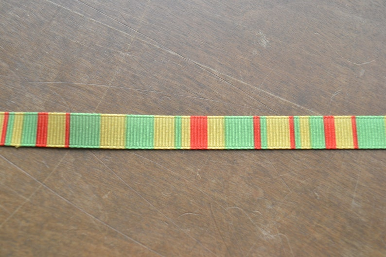 5 yards of green and white cotton Celtic style  or  grosgrain neon yellow orange and green stripe Ribbon.