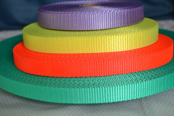 neon orange bright teal and lavender. 5 yards of 34 Inch 100/% nylon webbing gorgeous colors of neon yellow