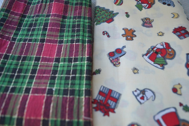 Remnant Christmas Toys or plaid Fabric Pieces in small sizes for small projects gold and black. Plaid has two shades of green and rose