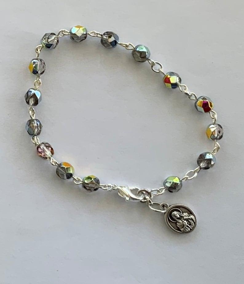 RCR528 Earth Tone  Divine Mercy  Rosary Bracelet