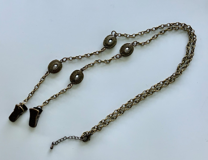 FML028  Antique Gold with Black Rhinestones Face Mask LanyardHolder with Extended Chain