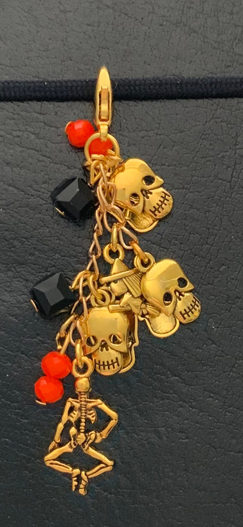 Skull and Witch  Planner Charm Journal Charm and Bag Charm TN charm APC2006 Gold Halloween Skeleton